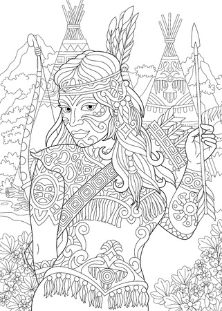 Coloring Page. Adult Coloring Book. Native American Indian Woman. Navajo ethnicity. Cherokee nation. Boho tribal culture. Antistress freehand sketch drawing with doodle and zentangle elements. Vettoriali