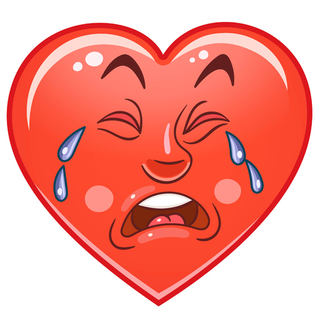 Cartone animato cuore rosso piangere. Emoticons. Smiley. Emoji. Simbolo di emozione triste. Elemento di design per Happy Valentines Day greeting card, pagina del libro da colorare per bambini, stampa t-shirt, icona, logo, etichetta, patch, adesivo.