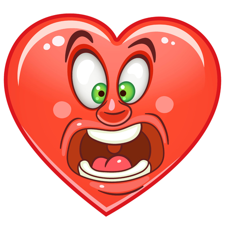 Cartoon red Heart Scream. Emoticon. Smiley. Emoji. Fear Emotion symbol. Design element for Happy Valentines Day greeting card, kids coloring book page, t-shirt print, icon, logo, label, patch, sticker