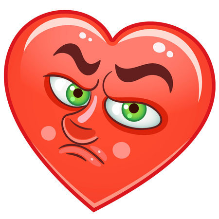 Cartoon red Heart Cry. Emoticons. Smiley. Emoji. Sad Emotion symbol. Design element for Happy Valentines Day greeting card, kids coloring book page, t-shirt print, icon, logo, label, patch, sticker Illustration