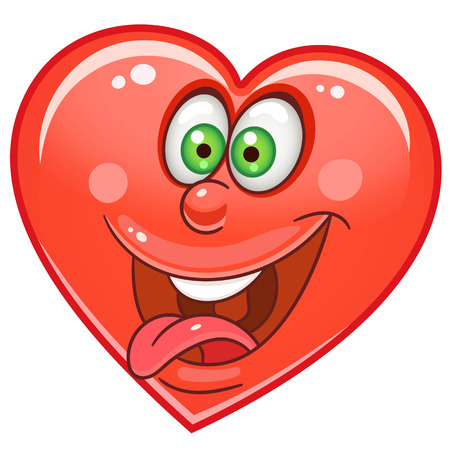 Cartoon crazy red Heart. Emoticons. Smiley. Emoji. Love Emotion symbol. Design element for Happy Valentines Day greeting card, kids coloring book page, t-shirt print, icon, logo, label, patch, sticker