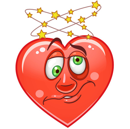 Cartoon red Heart with dizzy. Emoticons. Smiley. Emoji. Emotion symbol. Design element for Happy Valentines Day greeting card, kids coloring book page, t-shirt print, icon, logo, label, patch, sticker