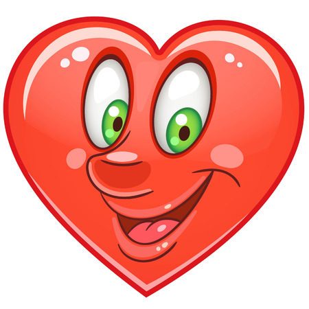 Cartoon red Heart. Emoticons. Smiley. Emoji. Love Emotion symbol. Design element for Happy Valentines Day greeting card, kids coloring book page, t-shirt print, icon, logo, label, patch, sticker.