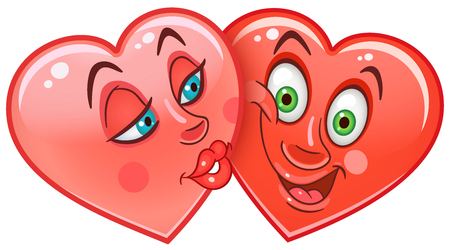 Cartoon red Hearts Kiss. Emoticons. Smiley. Emoji. Love Emotion symbol. Design element for Happy Valentines Day greeting card, kids coloring book page, t-shirt print, icon, logo, label, patch, sticker