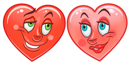 Cartoon red Hearts. Emoticons. Smiley. Emoji. Love Emotion symbol. Design element for Happy Valentines Day greeting card, kids coloring book page, t-shirt print, icon, logo, label, patch, sticker. Illustration