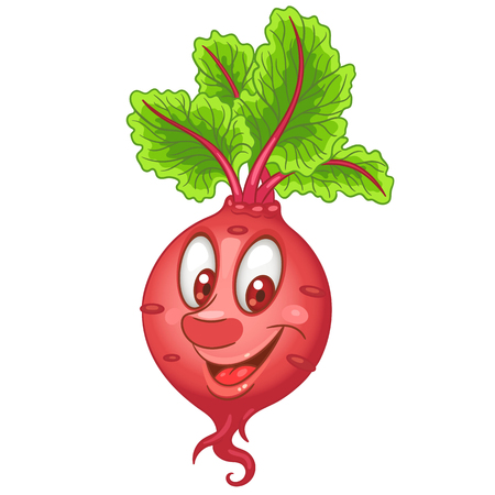 Cartoon Beet character. Beetroot root crop. Happy Vegetable symbol. Eco Food icon. Design element for kids coloring book, colouring page, t-shirt print, logo, label, patch or sticker.