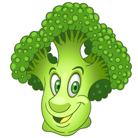Broccoli stripfiguur. Groene bloem hoofd van kool. Gelukkig Groentesymbool. Eco Food-pictogram. Ontwerpelement voor kinderen kleurboek, kleurplaat, t-shirt print, logo, label, patch of sticker. Logo