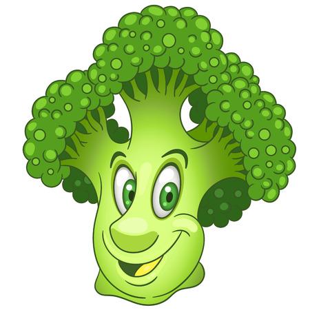 Personaggio dei cartoni animati di broccoli. Capolino verde di cavolo. Felice simbolo vegetale. Icona di cibo eco. Elemento di design per bambini da colorare, colorare, stampare t-shirt, logo, etichetta, patch o adesivo.