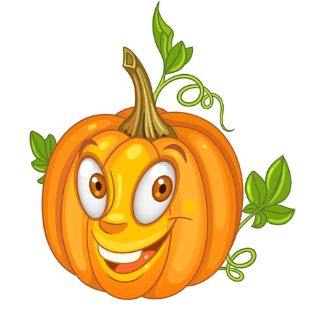 Cartoon Pumpkin character. Happy Vegetable symbol. Eco Food icon. Halloween holiday celebration decor. Design element for kids coloring book, colouring page, t-shirt print, logo, label, patch, sticker