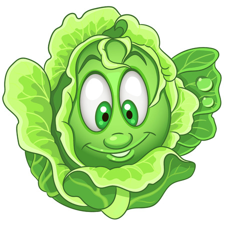 Cartoon Cabbage character. Iceberg Lettuce. Happy Vegetable symbol. Eco Food icon. Design element for kids coloring book, colouring page, t-shirt print, logo, label, patch or sticker.  イラスト・ベクター素材