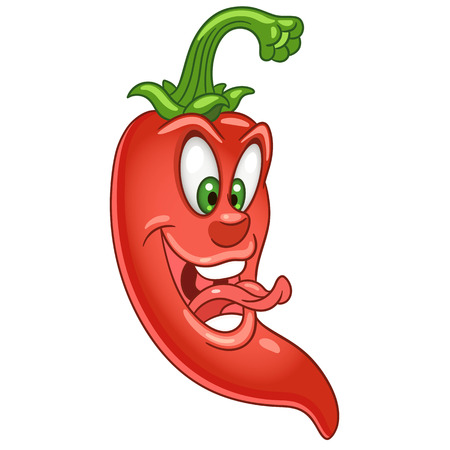 Cartoon chili peper karakter. Lange hete rode chili. Gelukkig Groente- en Spice-symbool. Eco voedsel pictogram. Ontwerpelement voor kinder kleurboek, kinder t-shirt print, logo, etiketten, patches, stickers.
