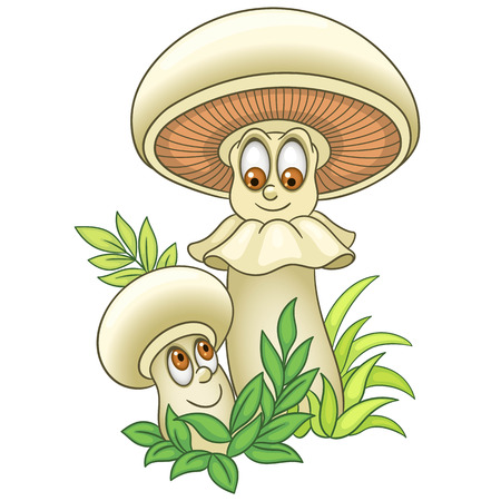 Cartoon Mushroom character. Champignon or Shiitake boletus. Happy Vegetable symbol. Food spice icon. Design element for children's coloring book, kids t-shirt print, logo, labels, patches or stickers.