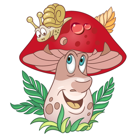 Cartoon Mushroom character. Porcini or Brown Cap boletus. Happy Vegetable symbol. Food spice icon. Design element for children's coloring book, kids t-shirt print, logo, labels, patches or stickers.