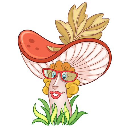 Cartoon Mushroom character. Chanterelle or Russula boletus. Happy Vegetable symbol. Food spice icon. Design element for childrens coloring book, kids t-shirt print, logo, labels, patches or stickers.