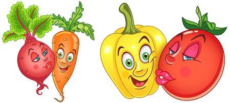 Cartoon Vegetables in Love. Lovely kiss. Emoticons. Smiley. Emoji. Design element for Valentines Day greeting card, kids coloring book, colouring page, t-shirt print, icon, logo, label, patch, sticker Illustration