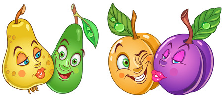 Cartoon Fruits in Love. Lovely kiss. Emoticons. Smiley. Emoji. Design element for Valentines Day greeting card, kids coloring book, colouring page, t-shirt print, icon, logo, label, patch, sticker.