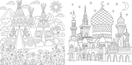 Coloring Page. Adult Coloring Book. Native North American wigwam village. Boho tribal culture. Turkish mosque with crescent moons. Islamic arabic asian style. Antistress freehand sketch collection.