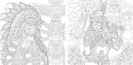 Coloring Page. Adult Coloring Book. Native American Indian Chief and Apache Woman. Navajo ethnicity. Boho tribal culture. Antistress freehand sketch collection with doodle Vettoriali