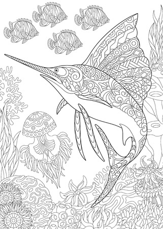 Coloring page for adult coloring book. Underwater background with sailfish, jellyfish, tropical fishes and ocean plants.