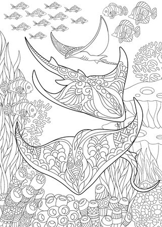 Coloring page for adult coloring book. Underwater background with stingray shoal, tropical fishes and ocean plants. Anti-stress freehand sketch drawing with doodle and elements.