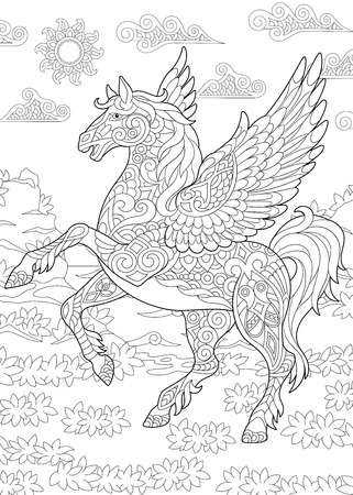 Coloring page for adult coloring book. Pegasus - Greek mythological winged horse flying. Anti-stress freehand sketch drawing with doodle and elements.