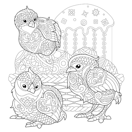 Chicks around basket with Easter eggs and Easter cake. Illustration