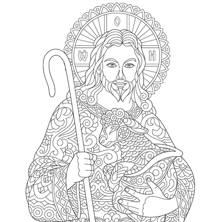 Jesus Christ and newborn baby sheep. Portrait of christian biblical character. Coloring page for adult coloring book. Anti-stress freehand sketch drawing with doodle and elements. Vectores