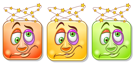 Dizzy Emoji face with headache and spinning stars. Emoticons collection. Colorful smiley set. Illustration