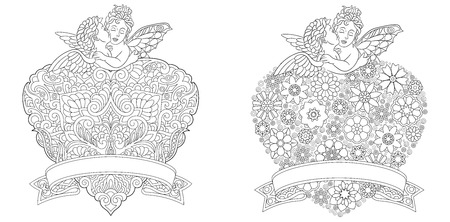 Angel Coloring Page. Heart template collection with abstract lace floral filigree pattern. Empty place on ribbon banner for your text. Adult Coloring Book. Freehand sketch drawing Vector illustration.