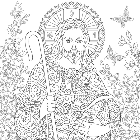 Jesus Christ with a lamb. Portrait of christian biblical character with floral background. Easter Coloring Page. Coloring Book. Anti-stress freehand sketch drawing with doodle  elements.