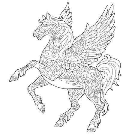 Pegasus - Griechisches mythologisches geflügeltes Pferdefliegen. Malvorlage. Malbuch. Anti-Stress-Freihandskizzenzeichnung mit Gekritzelelementen.