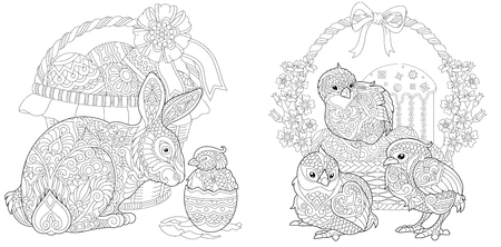 Easter Bunny and newborn Baby Chickens. Easter Coloring Page with floral basket, eggs and cake. Coloring Book. Anti-stress freehand sketch drawing with doodle elements.