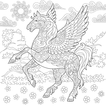 Pegasus Coloring Page. Greek mythological winged horse flying. Adult Coloring Book idea. Anti-stress freehand sketch drawing with doodle   elements.
