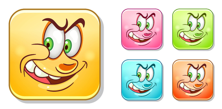 Wicked and sly Emoji. Emoticons collection. Colorful smiley set. Avatar symbol for message or chat icon, web mobile app sign, label, patch and sticker. Ilustração