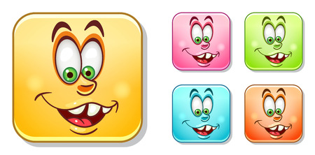 Happy silly laughing Emoji face. Emoticons collection. Colorful smiley set. Avatar symbol, internet message or chat icon, sign for web mobile app, logo, label, patch, sticker.