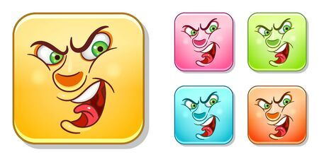 Angry aggressive Emoji face. Emoticons collection. Colorful smiley set. Avatar symbol, internet message or chat icon, sign for web mobile app, logo, label, patch, sticker.