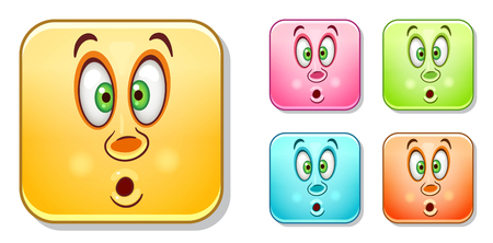 Pop-eyed wow Emoji face. Emoticons collection. Colorful smiley set. Avatar symbol, internet message or chat icon, sign for web mobile app, label, patch and sticker. Векторная Иллюстрация