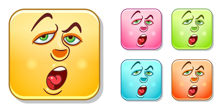 Tired and bored Emoji face. Emoticons collection. Colorful smiley set. Avatar symbol, internet message or chat icon, sign for web mobile app, logo, label, patch, sticker.