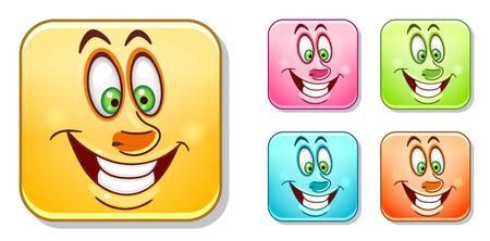Happy cheerful Emoji face. Emoticons collection. Colorful smiley set. Avatar symbol, internet message or chat icon, sign for web mobile app, label, patch and sticker.  イラスト・ベクター素材