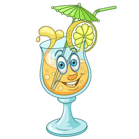 Summer Cocktail with smiling face. Vector illustration isolated on white background.