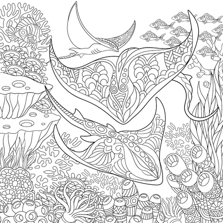 Coloring page. Adult coloring book idea. Underwater background with stingray shoal, tropical fishes and ocean plants. Anti-stress freehand sketch drawing with doodle  elements.