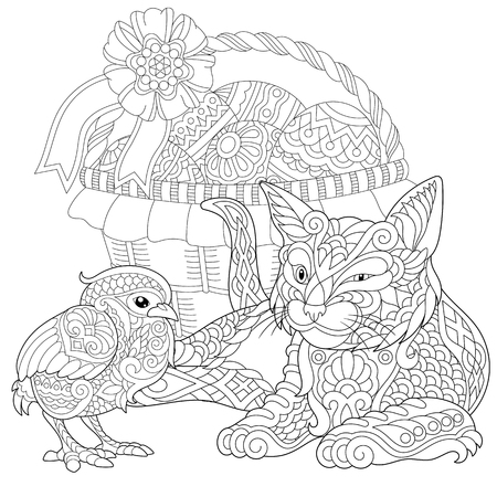 Cat and Baby Chicken Coloring Page. Adult Coloring Book idea. Anti-stress freehand sketch drawing with doodle  elements. Illustration