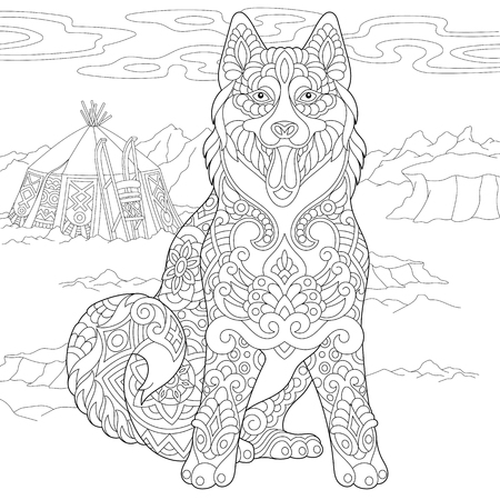 Alaskan Malamute or Siberian Husky. Eskimo Dog Coloring Page. Adult Coloring Book idea. Anti-stress freehand sketch drawing with doodle  elements. Vector illustration.