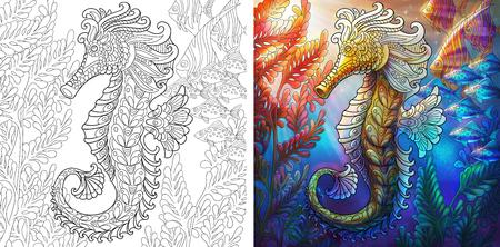 Coloriage. Hippocampe et banc de poissons. Fond sous-marin de l'océan. Échantillons incolores et colorés pour couverture de livre de coloriage antistress pour adultes.