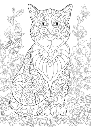 Spring garden. Coloring Page. Adult Coloring Book idea. Anti-stress freehand sketch drawing with doodle elements.