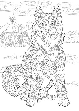 Alaskan Malamute of Siberische Husky. Eskimohond. Kleurplaat. Idee voor kleurboek voor volwassenen. Schetstekening uit de vrije hand met doodle elementen.