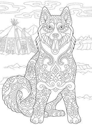 Alaskan Malamute or Siberian Husky. Eskimo Dog. Coloring Page. Adult Coloring Book idea. Freehand sketch drawing with doodle elements.