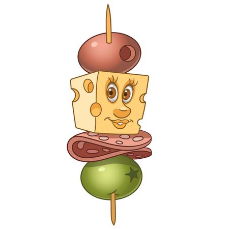 Canape au salami, fromage et olives. Apéritif ou idée de restauration rapide. Conception de dessin animé heureux pour livre de coloriage pour enfants, coloriage, impression de t-shirt, icône, étiquette, patch, autocollant.