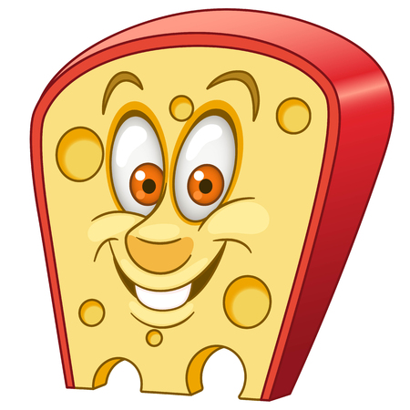 Swiss Cheese. Triangle piece of cheese with holes. Happy cartoon design for kids coloring book, colouring page, t-shirt print, icon, logo, label, patch, sticker.