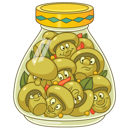 Pickles jar. Pickled champignon mushrooms. Happy canned food concept. Cartoon design for kids coloring book, colouring page, t-shirt print, icon, logo, label, patch, sticker. Illustration